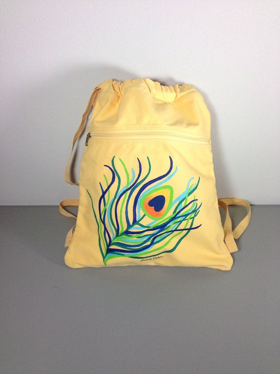 Kid's Backpack, Cinch Sack, Peacock Feather, Authentic Pigment, Hand Painted Backpack