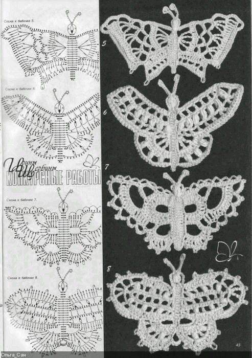 Mejores 25 imágenes de Crochet Butterflies en Pinterest | Mariposas ...