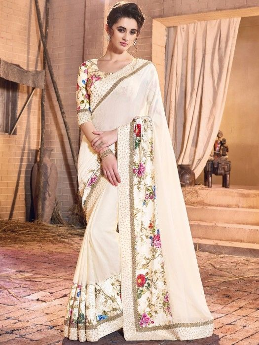 Shop Georgette cream classy saree online from G3fashion India. Brand - G3, Product code - G3-WSA17208, Price - 4895, Color - Cream, Fabric - Georgette,
