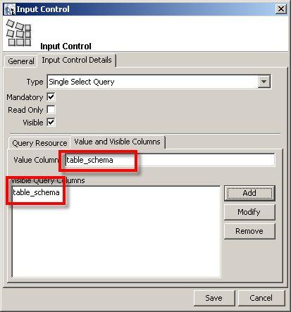 reports input control columns