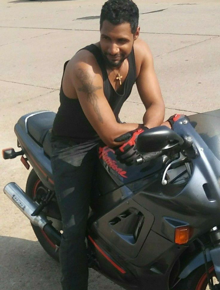 Motorcycle, Multi Racial, African American, Ethnic, Tattoo, Honda Hurricane, Male Model