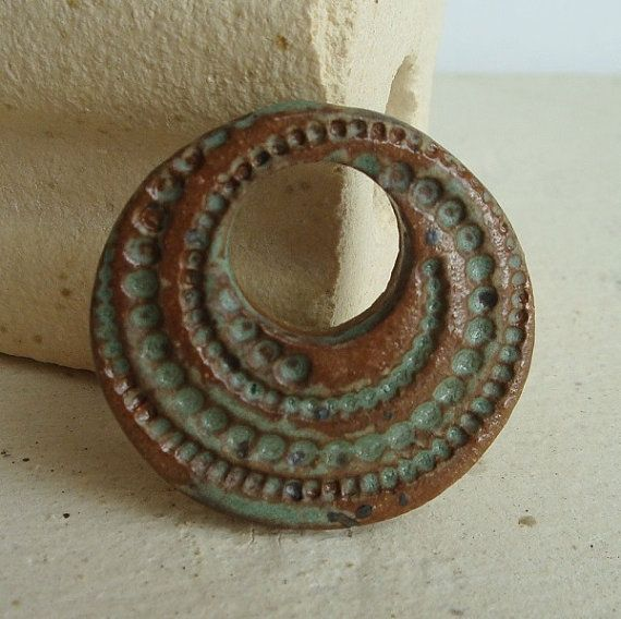 Rustic Sage Ceramic Pendant, Swirl of Dots, handcut and handmade from stoneware clay
