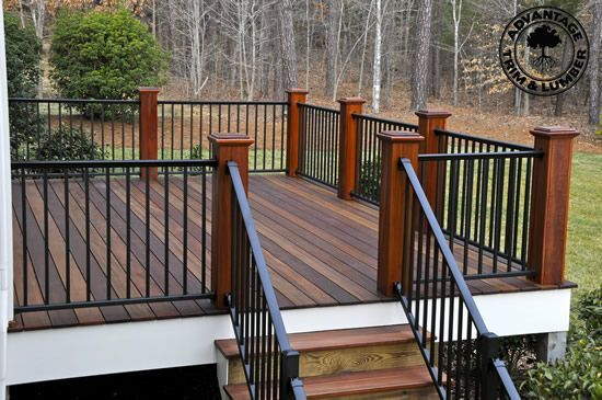 Don't like wood posts w/o wood railing, feels disconjointed Elegant combinations of metal railings with hardwood decking. | Advantage Lumber                                                                                                                                                                                 More