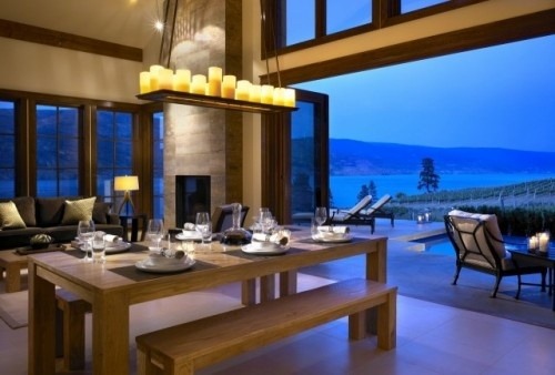 Contemporary dining room. LOVE the huge open doors to the patio.