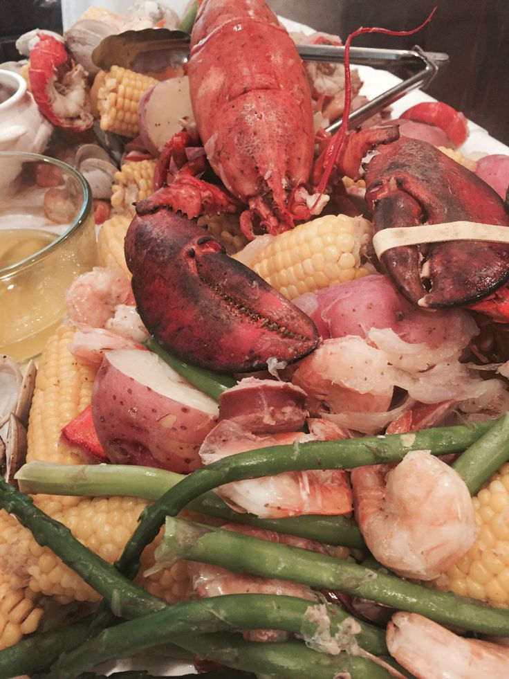 seafood boil bay leaves asparagus luau party clams shrimp onions ...