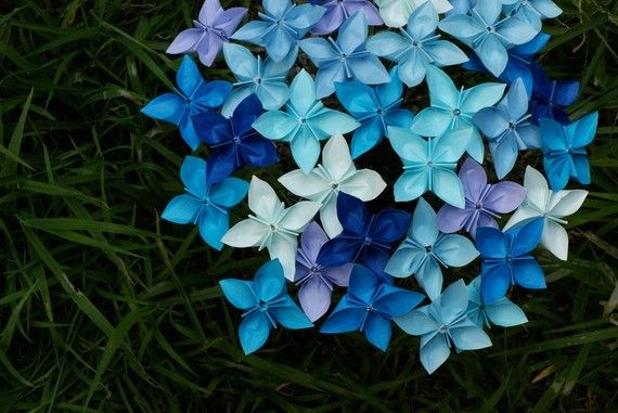 OrigamiBohemian Summer, Flower Bouquets, Paper Flower, Origami Bouquets, Origami Flower, Blue Flower, Blue Bouquets, Paper Crafts, Bouquets Flower