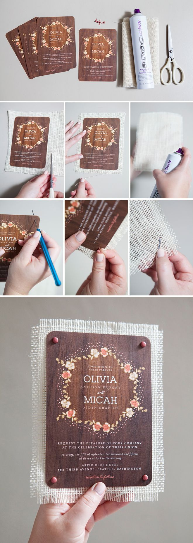 DIY Wedding // How to mount your wedding invitation on burlap! Hairspray is the trick!