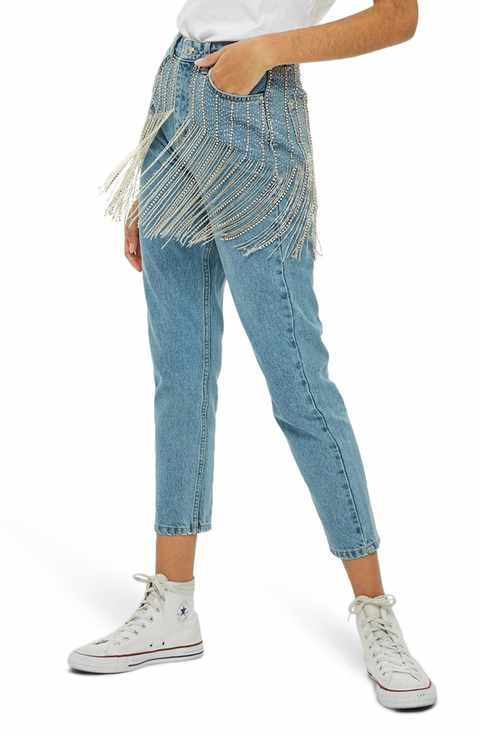 dfd6c246155 Topshop Diamante Crystal Fringe Mom Jeans | Apparel & Looks | Jeans ...