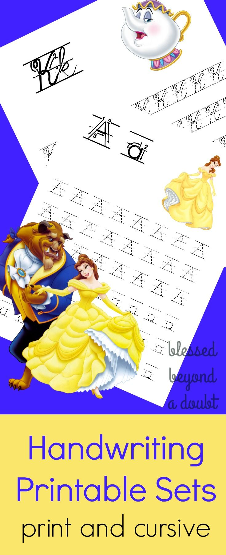 FREE Beauty and the Beast handwriting printable set. The packets come in print and cursive editions.
