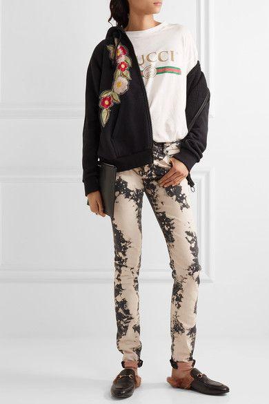 Gucci - Appliquéd Distressed Mid-rise Skinny Jeans - Dark gray - 25