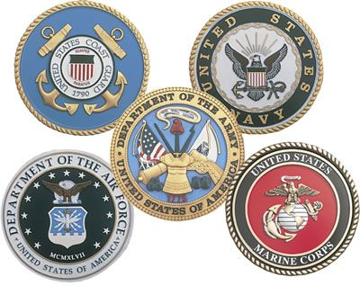Symbols of the Five American Military Services. Air Force, Army, Coast Guard, Marine Corp., and Navy.