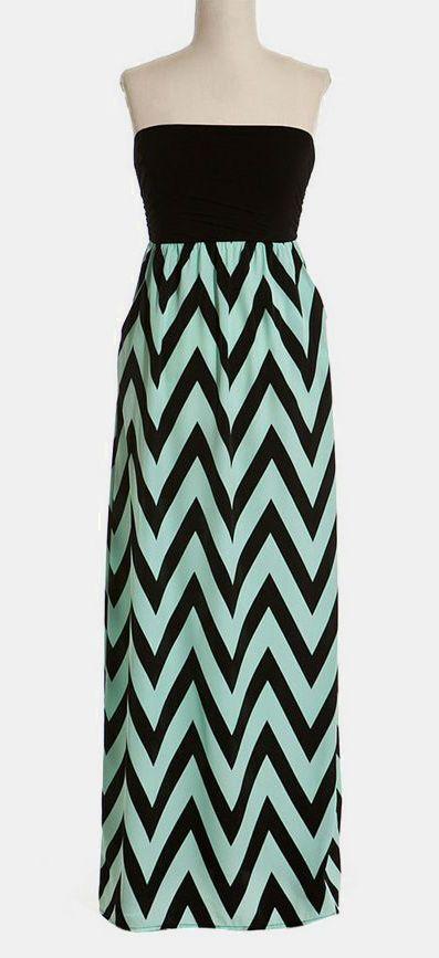 Mint & Black Zigzag Strapless Maxi Dress