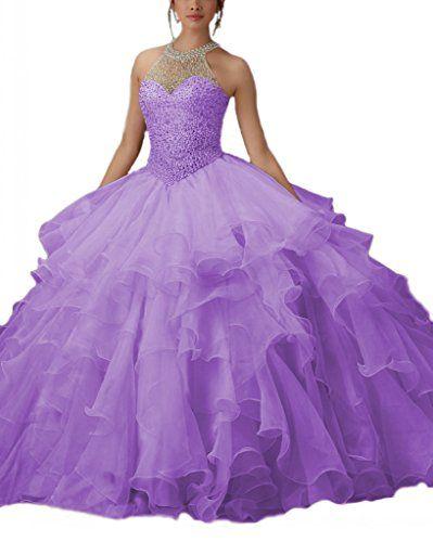 Angela Women's High Neck Organza Prom Ball Gown Beads Quinceanera Dress Purple 6