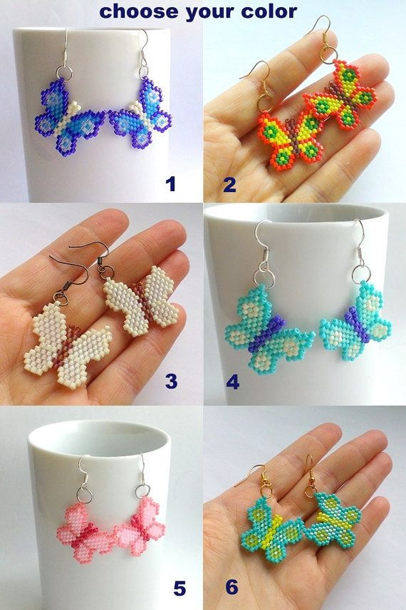 Butterfly Earrings-Fluttering Butterflies-Seed Bead от Galiga