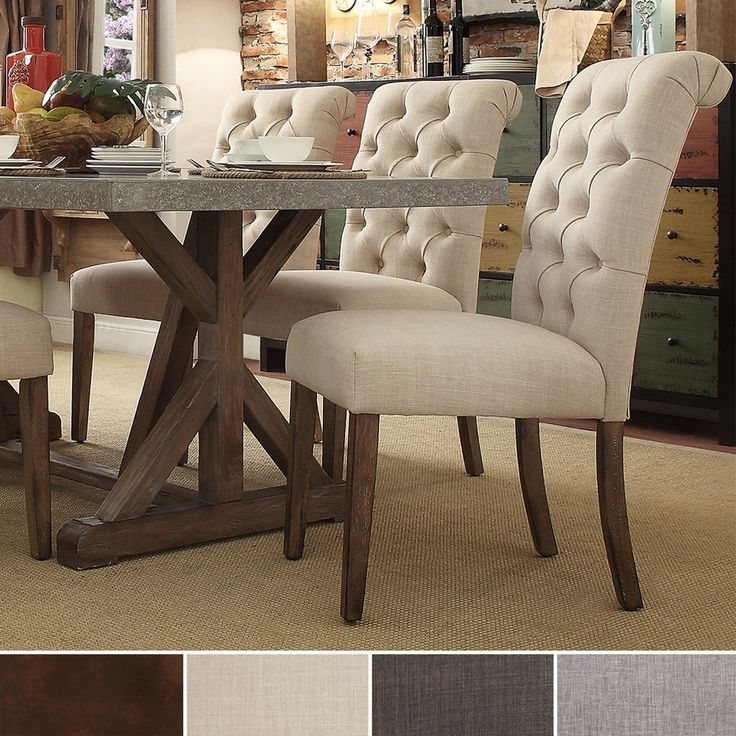 TRIBECCA HOME Benchwright Button Tufts Upholstered Rolled Back Parsons Chairs Set Of 2 In Grey Linen As Is Item