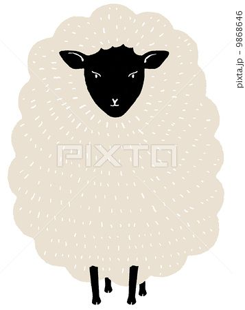 sheep//正面 顔の黒い羊 手書き風イラスト(背景透明)