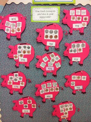 """How much money is in your """"piggy bank""""? A great activity to review money concepts."""