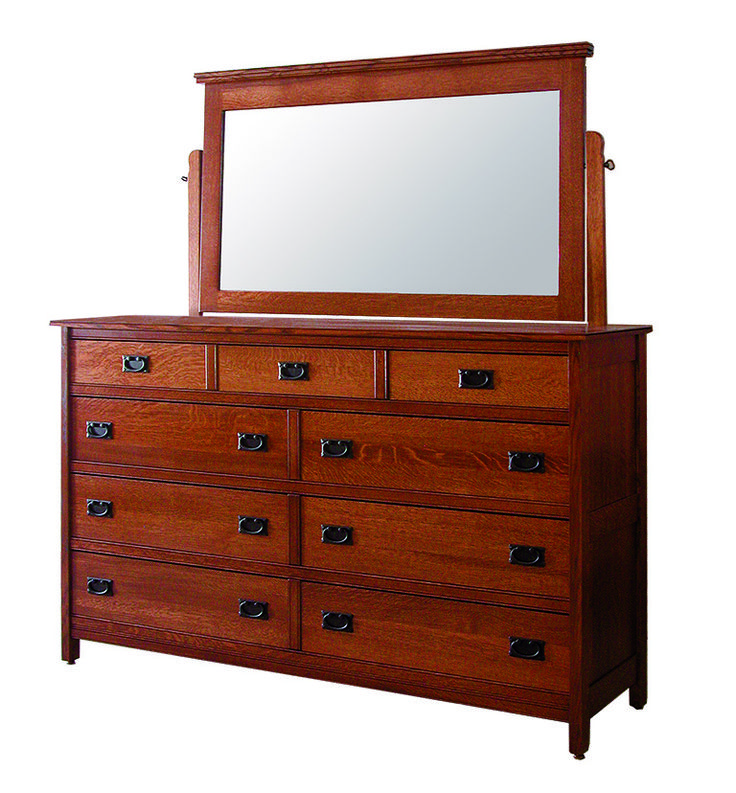 Brown Tall Dresser with Mirror