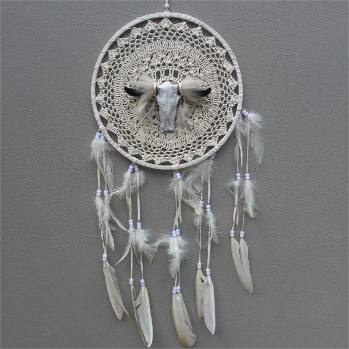 Bohemian Dream Catcher - White with Bull Skull by Love Me Trendy Brand