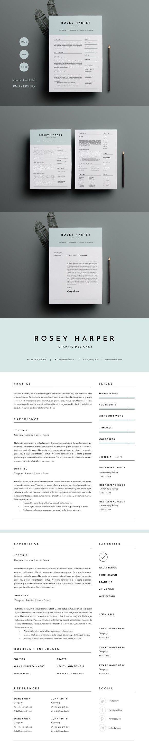 3 Page Resume Template INDD + DOCX