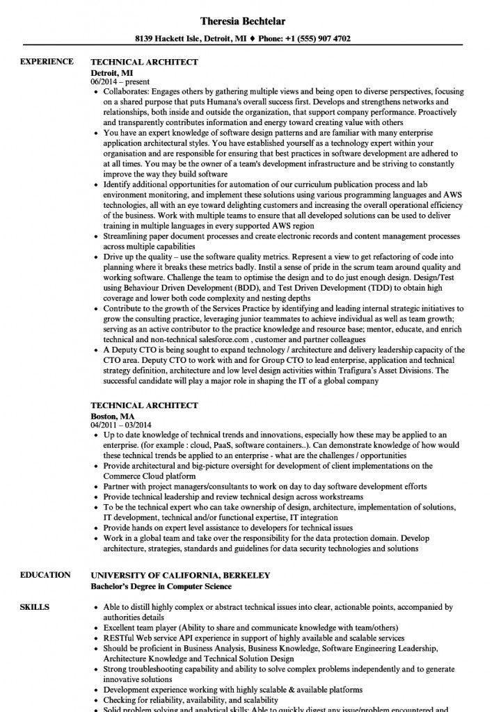 Technical Architect Sample Resume 2021 Architect Resume Architect Resume Sample Solution Architect