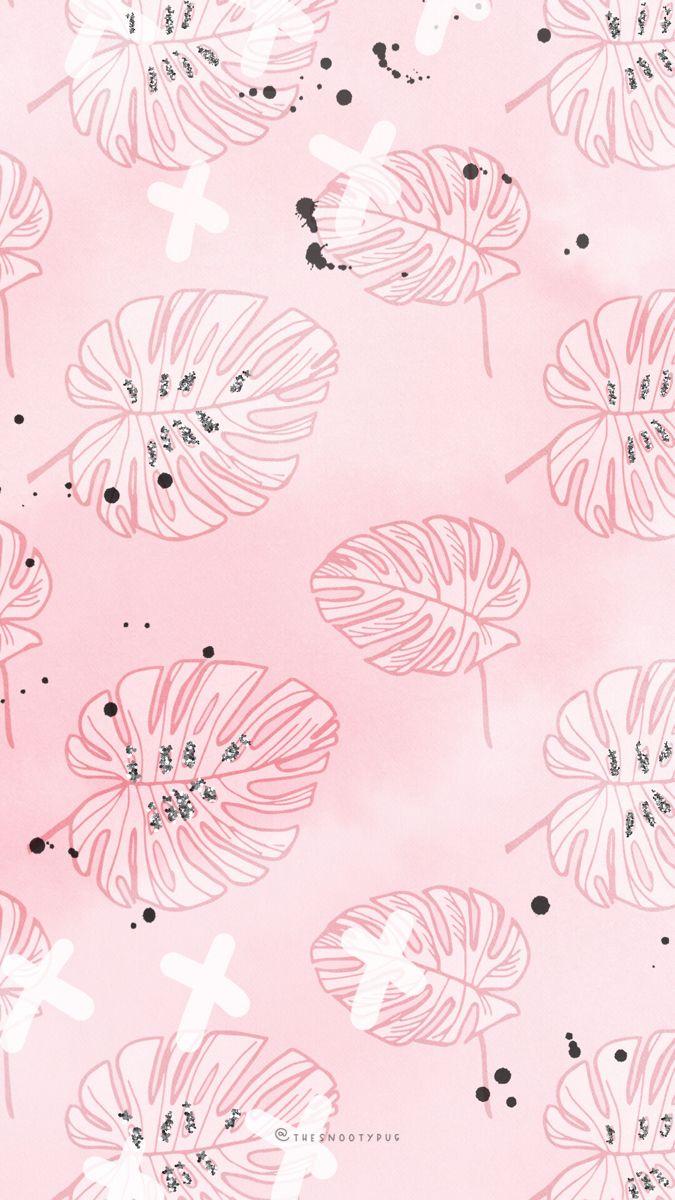 Modern Trendy Plant Wallpaper Iphone Wallpaper Girly Plant Wallpaper Pastel Background Wallpapers