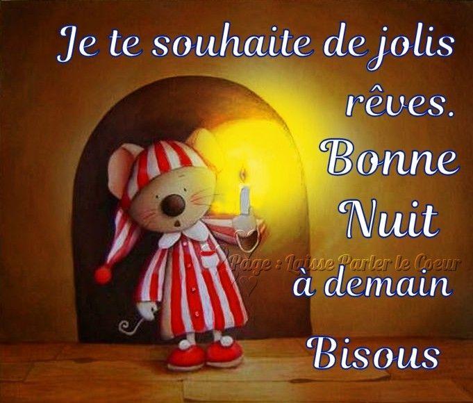 Je te souhaite de jolis rêves Bonne Nuit, à demain Bisous | Bonne nuit, Bonne  nuit bisous, Citation bonne nuit