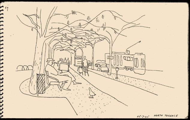 Eric Thake - View along terrace: path, trees, trams
