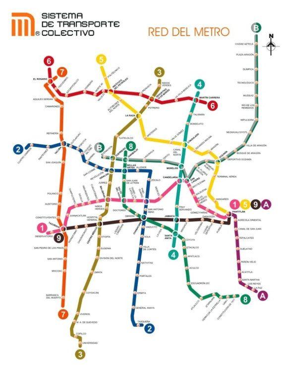Plano del metro de Ciudad de Mexico en Mexico