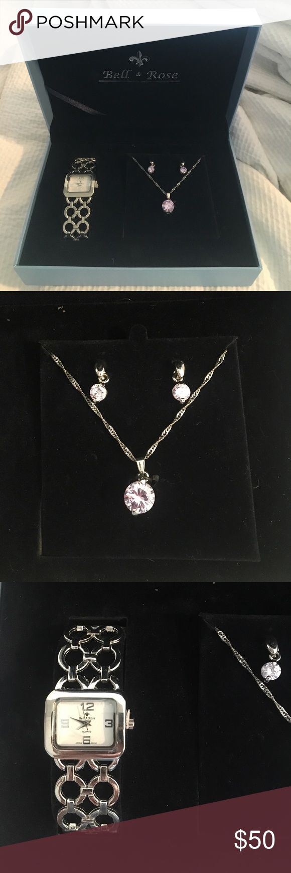 Necklace & Earrings & Watch Package! NEVER WORN! Bell & Rose authentic silver watch and purple diamond matching earrings and necklace! Never worn or used! Comes with authentic box! Bell & Rose Jewelry Necklaces
