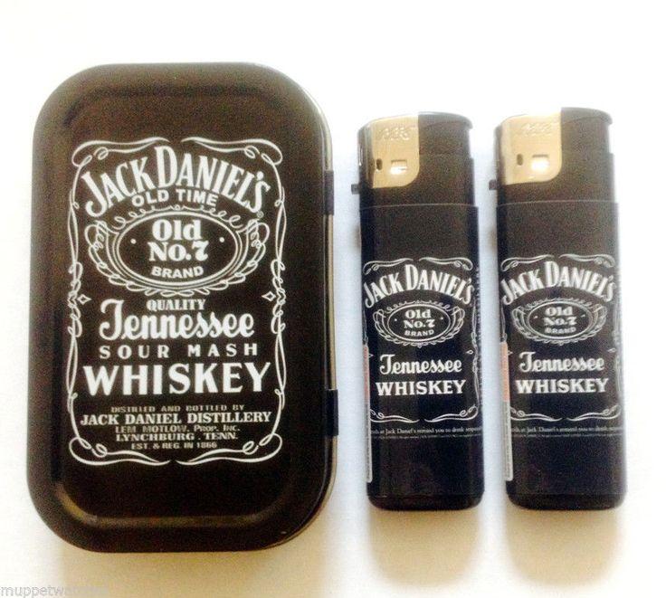 JACK DANIELS No 7 HINGED 1oz Tobacco Cigarette TIN & 2 JD GAS REFILLABLE LIGHTER