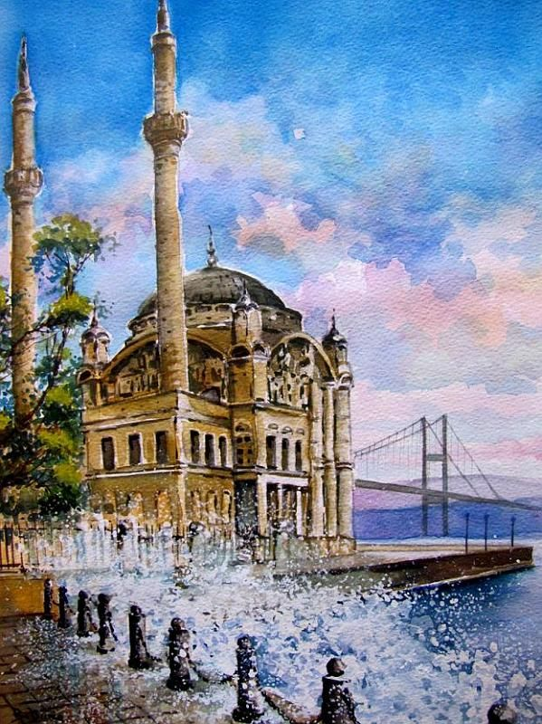 Ortaköy Mosque in Istabul, painted by Berrin Duma. SOLD