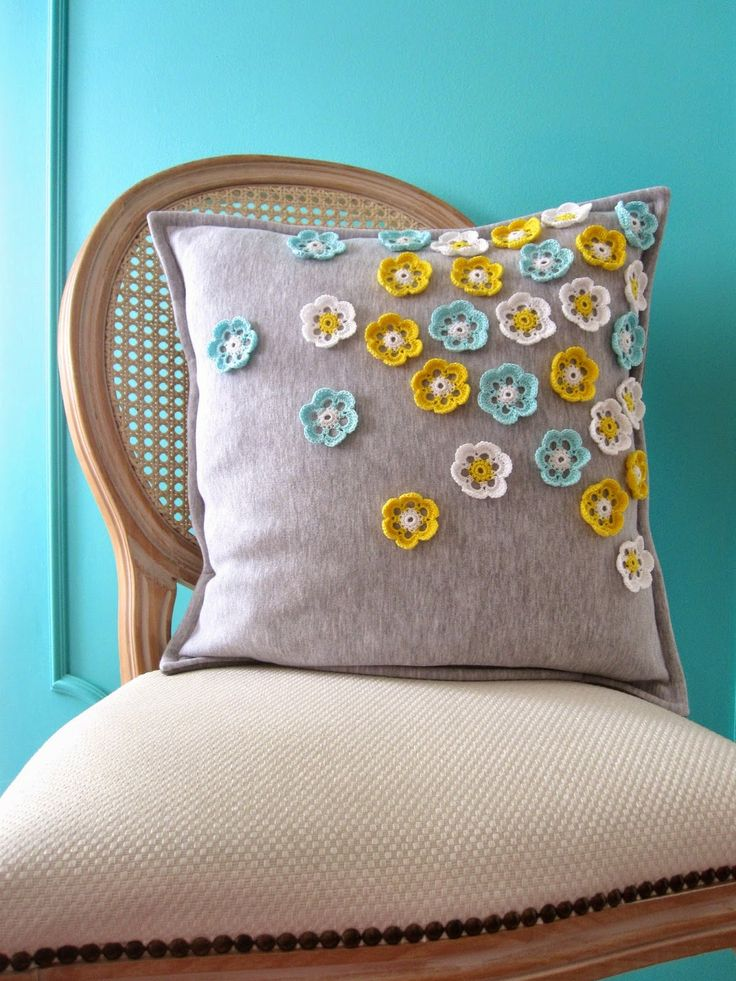 grey gray throw pillow crochet flowers turquoise yellow white flowers poszewka ozdobna w kwiatki Easter home decoration 'created by BB'