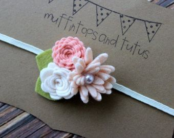 Yellow felt flower garland headband by muffintopsandtutus on Etsy