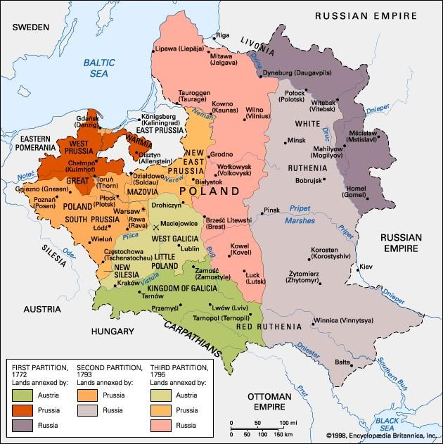 prussia russia austria carved poland up in three successive partitions in 1772