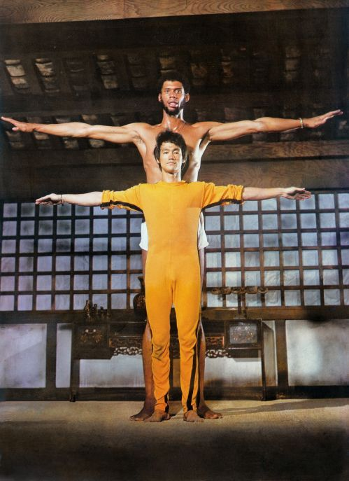 Bruce Lee and Kareem Abdul-Jabbar on the set of The Game of Death