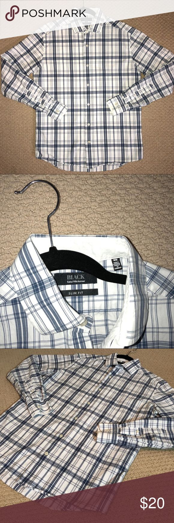 SALE EUC Saks Fifth Avenue Black Label Dress Shirt This dress shirt from Saks Fifth Avenue Black Label is in great shape! It features a white and blue plaid design. Slim Fit. Size Medium Saks Fifth Avenue Black Label Shirts Casual Button Down Shirts