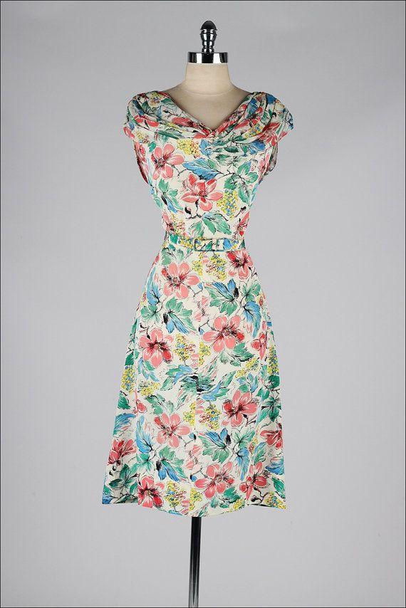 vintage 1940s dress . floral silk crepe draped shoulders cocktail dress . 1498