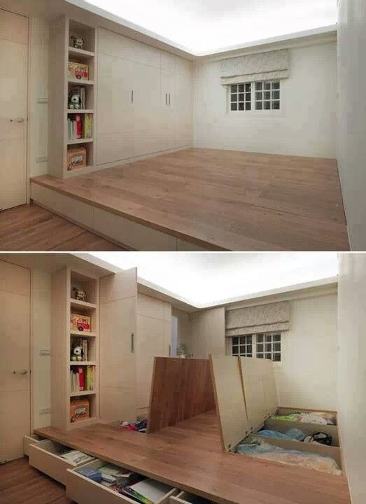 Hidden storage. Would be cool to have the bed higher than rest of bedroom.