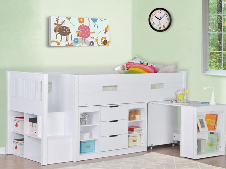 44.4 in high (55) Charlie Storage Midsleeper with Pull Out Desk