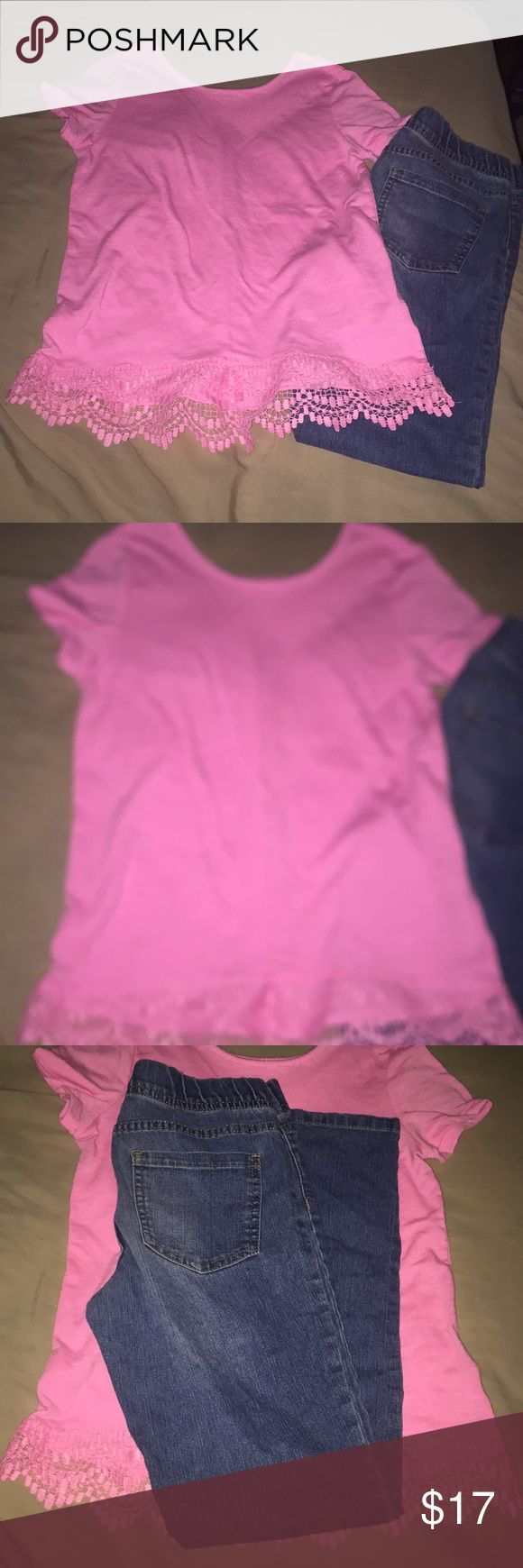 Little Girls Outfit Size XLarge Adorable little girls outfit in great condition. The pants are by Jordache and the tag says size 12 however are made bigger than most other brands. They fit my little one more like a 13-14 size. The shirts is a beautiful soft pink by Extremely Me in perfect condition. It has really pretty detailing along the bottom and is a size 14-16. From a pet free smoke free home. Jordache Matching Sets