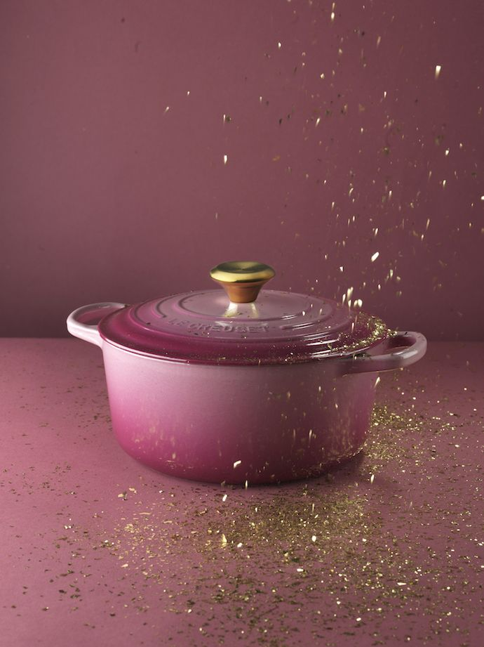 Le Creuset Limited Berry Pink Dutch oven with gold knob