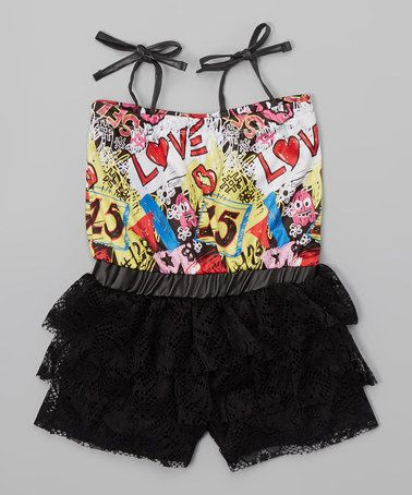 Look what I found on #zulily! Black 'Love' Sleeveless Romper - Infant, Toddler & Girls #zulilyfinds