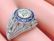 ANTIQUE ART DECO 2ctw OLD MINE & ROSE DIAMOND .60ctw SAPPHIRE PLATINUM RING 1930