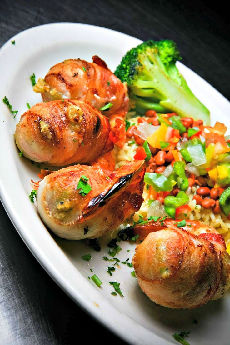Broiled Gulf shrimp, stuffed with crab and wrapped in bacon, from Harbor Docks, http://www.beachguide.com/Destin/Restaurants/HarborDocks
