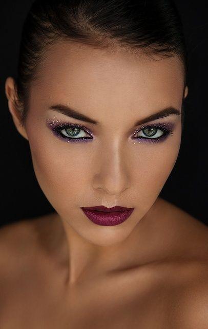 purple glitter eyeshadow makeup + dark red lips...chic and elegant!  Love the lipstick!!