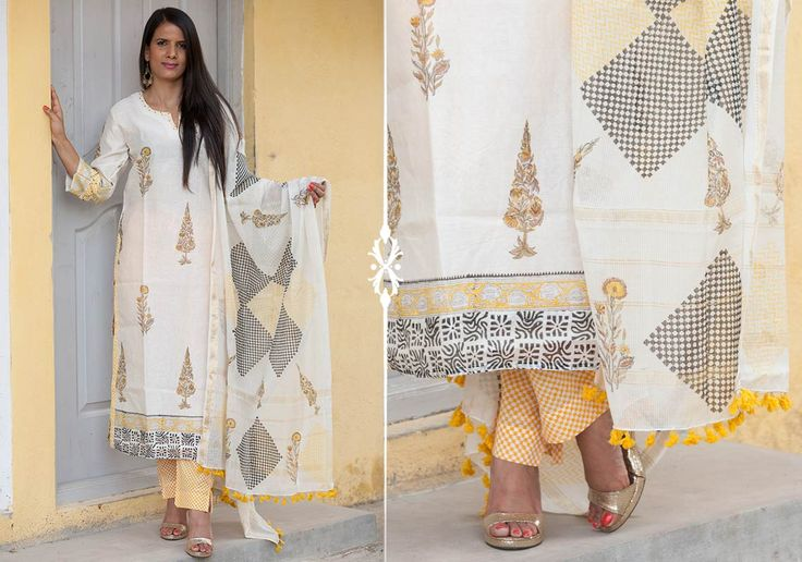 Salwar Kameez Dupatta set - Yellow Booti by Suvasa PC 16704 - Main