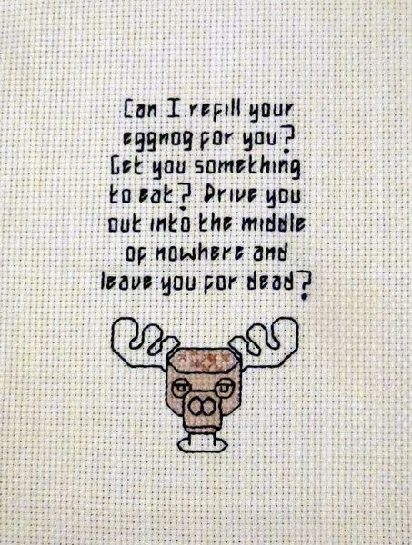 Cross stitch version of Clark Griswold's eggnog quote (National Lampoon's Christmas Vacation) • by Randomly Generated