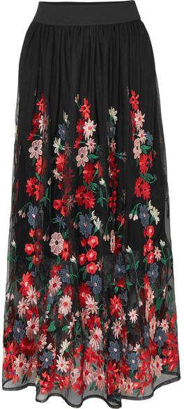 80e817ffbe Maje - Jamie Embroidered Tulle Midi Skirt - Black   Skirts   Black ...