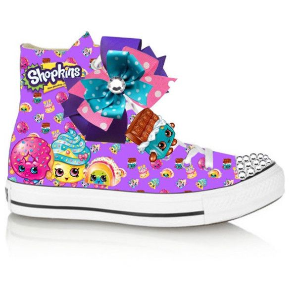 This listing is for a NON-CONVERSE hightop vinyl shopkins inspired shoe with bow and studded toe. This is a digital image of the shoe. Let your child's imagination run wild with this colorful fun shoe